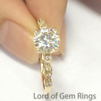 Round Moissanite Engagement Ring Pave Diamond Wedding 14K Yellow Gold 6.5mm Art Deco