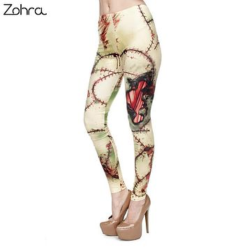 Zohra Brand Fashion Simulation Zombie Printing Woman Party Legging Stretchy Trousers Leggings High Waist Women Pants