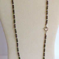 Necklace made with Amethyst and Diopside, Sterling Silver Beads and Clasp, Statteam