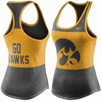 Women's Nike Black Iowa Hawkeyes Dri-Blended Mesh Tri-Blend Performance Tank Top