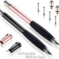 MEKO (2nd Generation) [2 in 1 Precision Series] Disc Stylus Pen For iPhone X/8/8plus/7 iPad 4/ iPad mini and All Capacitive Touch Screens Bundle with 6 Replacement Tips ,Pack of 2 ( Black/Rose Gold)