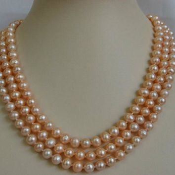 Peach Freshwater Pearl Necklace PN099