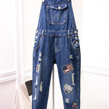 2015 Womens Destroyed Denim Jumpsuit American Aationgal Flag Badge Ladies Casual Jeans Romper Cotton Denim Bib Overalls Q0510