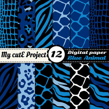Digital Paper: Animal Print blue - Scrapbooking & graphics - 12x12 - A4 - Tiger Print, crocodile, leopard, giraffe , zebra