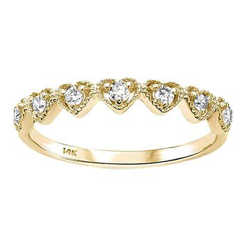 0.21ct Round Diamond in 14K Yellow Gold Heart Half Eternity Band Ring