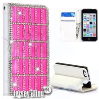 BLING Swarovski & Czech Crystal Jersey Bling® Faux Leather iPhone 5, 5s Handmade Case Wallet w/Cards & ID Slot & Magnetic Closure (Hot Pink)