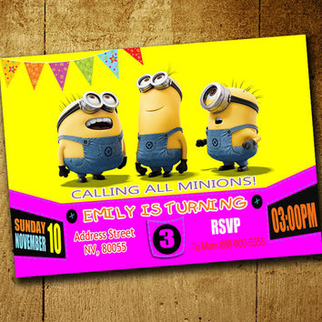 Invitations - Minion Invitation - Minion Birthday - Minion Invitations - Minion Girl Invitation - Minion Girl Party - Minion Girl Birthday