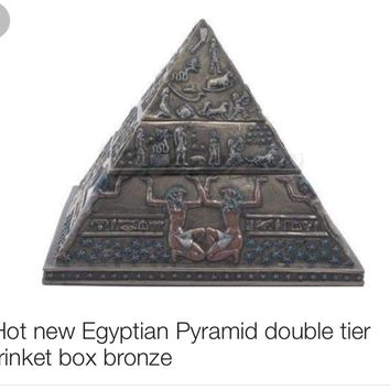 Hot new Egyptian Pyramid double tier trinket box bronze