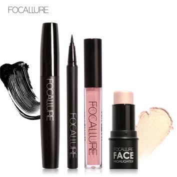 FOCALLURE Pro 4Pcs Daily Use Makeup Big Volum Mascara Eyeliner Highlighter Bronzer Sticker with Liquid Lipstick