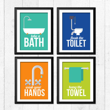 Retro bathroom Art Prints, Bathroom rules art prints, take a bath, wash your hands, flush the toilet,brush flush wash, home decor, A-4007