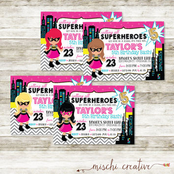 "Super Hero Bat Girl Birthday Party DIY Printable Invitation in Pink, Black and Yellow and Glitter Gold - 5"" x 7"""