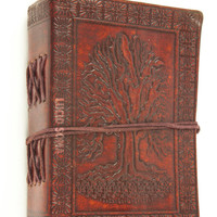 5x3.5 Handmade Leather Journal, Sketchbook, diary Celtic Tree of Life Book of Shadow wicca