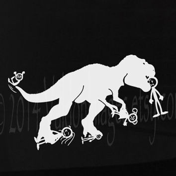 T Rex eating up your stick family vinyl car decal, graphic decal, vinyl decal, sticker, decal, car sticker, laptop sticker
