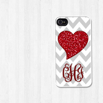 Personalized iPhone Case, iPhone 4, iPhone 5, Samsung Galaxy S3, Red Glitter Heart Gray Chevron, Phone Case, Back to School Gift (316)