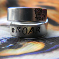 Roar lion spiral hand stamped ring
