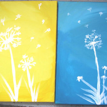 Girls Bedroom Decor, Custom Painting, Dandelion Art, Wall Art, Girls Bedroom Art, Unique Gift, Dandelion Painting, Original Painting