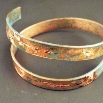 Copper Bangle Cuff Boho Tribal Wrap Blue Turquoise Green Black Festival Jewelry Bohemian Gypsy Style Hand Forged Etched Metal Summer Rocker
