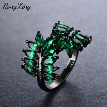 RongXing New Fashion Maple Leaf Green Crystal Zircon Rings for Women Vintage Black Gold Filled CZ Birthstone Wedding Ring RB1060