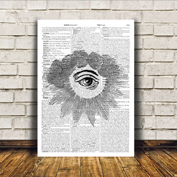 Illuminati art All seeing eye print Modern decor Occult poster RTA287