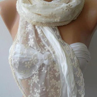 Creamy White .....Shawl /Scarf .....Romantic..