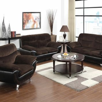 2 pc Wilona collection modern style two tone chocolate champion fabric and black bonded leather upholstered sofa and love seat set