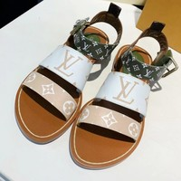 LV popular fashion women casual white green pattern flat sandals