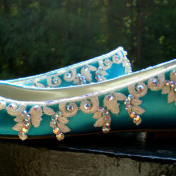 Custom Blue Bridal Flats The Bellemany colors by TheCrystalSlipper
