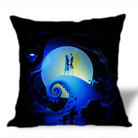 Nightmare Before Christmas Jack skellington and Sally on Square Pillow Cover