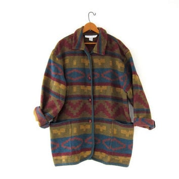 Vintage Southwestern Coat. Tribal Coat. Ethnic Blanket Coat. Oversized Wool Coat.