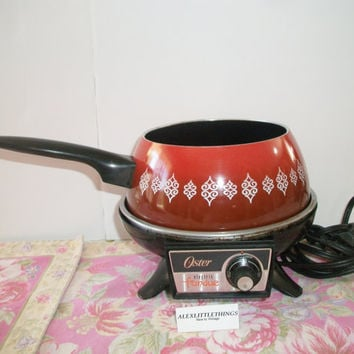 Vintage Oster Electric Fondue Pot Orange