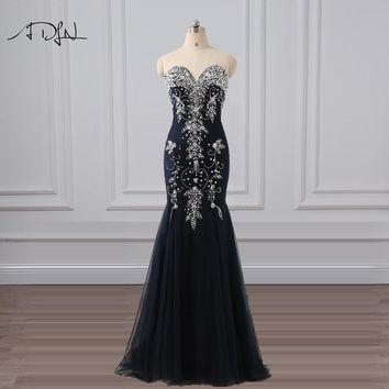 ADLN 2018 High Quality Mermaid Evening Dresses with Rhinestones Luxury Handmade Beading Navy Blue Prom Gown Long Party Wear