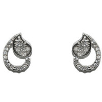 Keshon Paisley CZ Stud Earrings | Cubic Zirconia | Silver