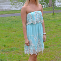 Strapless Lace Detail Dress in Mint