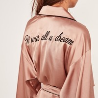Missguided - Pink Slogan Contrast Piping Silk Robe