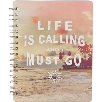 "Life Is Calling And I Must Go Spiral Notebook in Tropical (7"" x 9"")"