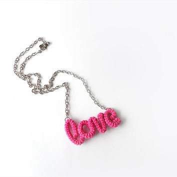 Love Word Pendant Necklace, Romantic Valentine Pink Necklace, Valentine's Day Gift