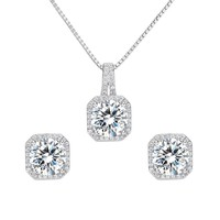 925 Sterling Silver Cubic Zirconia Bridal Pendant Necklace Earrings Jewlery Set Clear