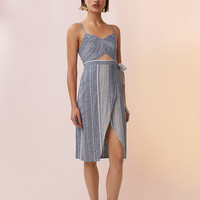 Striped Cut-Out Linen-Blend Midi Dress