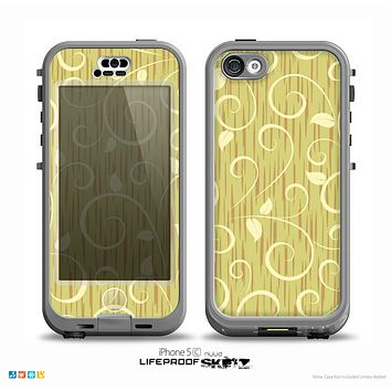 The Light Green Curley Vines Skin for the iPhone 5c nüüd LifeProof Case