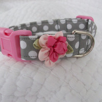 Dog Collar Grey polka dots with Pink  Shabby  by graciespawprints