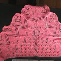 Hand knitted lace shawl with beads