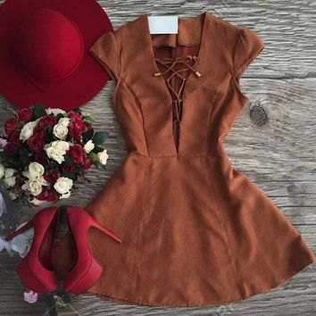 V-Neck Cross Strap Suede Dress