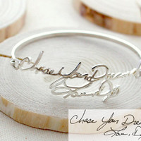 SALE Memorial Signature Bangle - Personalized Handwriting Bangle - Keepsake Jewelry in Sterling Silver - Christmas Gift - MOTHER GIFT