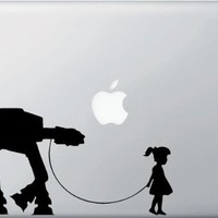 Girl Walking Robot - Vinyl Laptop or Macbook Decal