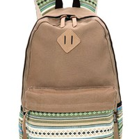 Leaper Casual Style Lightweight Canvas Laptop Bag Cute Shoulder Bag School Backpack Travel Bag (Large, Khaki+Flower)