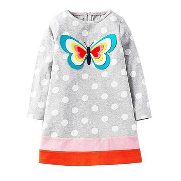 Long Sleeve Dress Girls Clothes  Winter Kids Dresses for Girls Animal Applique Unicorn Princess Dress Children Jersey