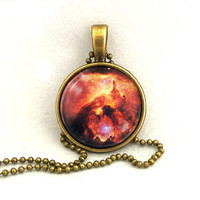 10% SALE - Necklace Copper,  War and Peace Nebula, Galaxy Jewelry, Universe, Space, Pendant Necklaces,Constellation,Gift For Her