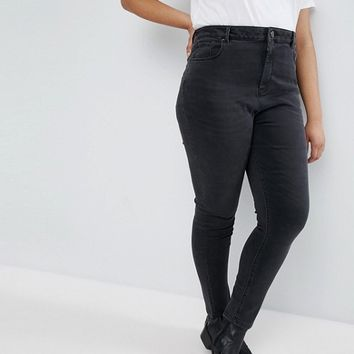 ASOS CURVE RIDLEY High Waist Skinny Jeans In Quintessential Washed Black at asos.com