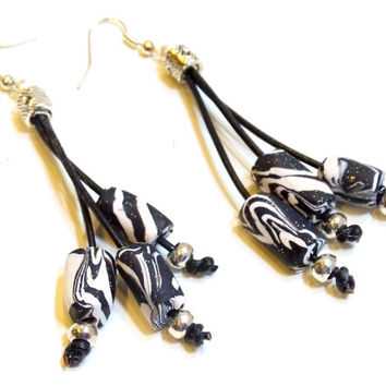 Black leather and zebra patterned bead drop earrings, boho chic, rustic, organic, dangle earrings,leather jewelry