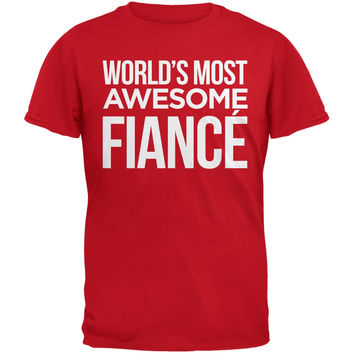 Valentine's Day World's Most Awesome Fiancé Red Mens T-Shirt